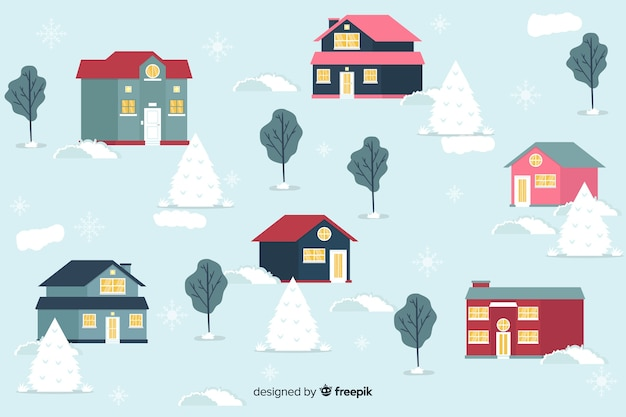 Flat christmas town with snowy background