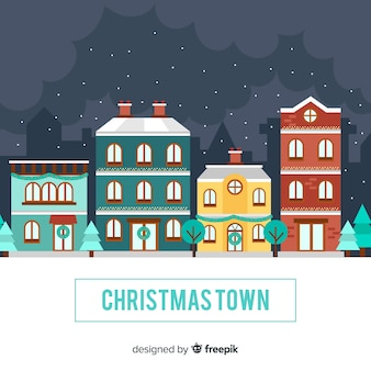 Flat christmas town