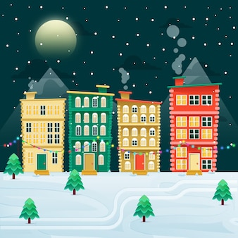 フラットなクリスマスの町