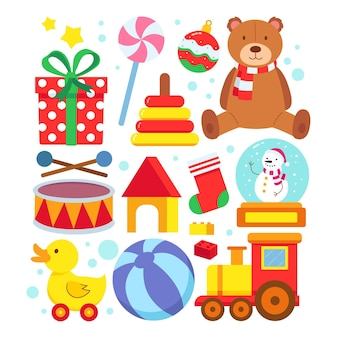 Коллекция плоских рождественских игрушек