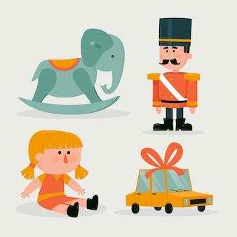 Collezione di giocattoli natalizi piatti