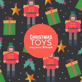 Flat christmas toys background