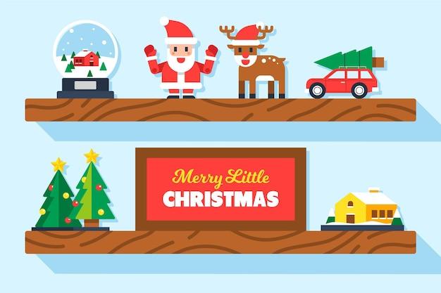 평면 크리스마스 장난감 배경