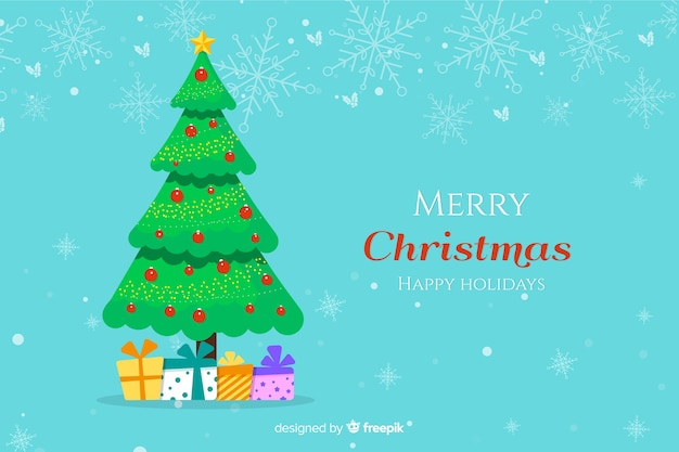 Flat christmas tree background with holiday boxes