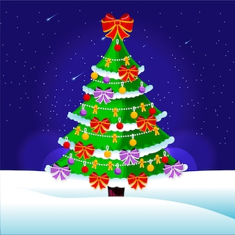 Flat christmas tree background