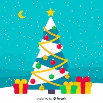 フラットなクリスマスツリーのクリスマスの背景