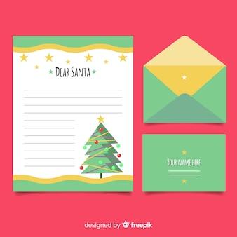 Flat christmas tree christmas letter template