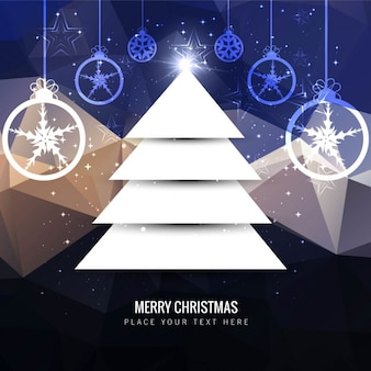 Flat christmas tree on polygonal background