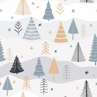 Flat christmas tree seamless pattern