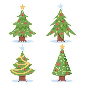 Flat christmas tree set
