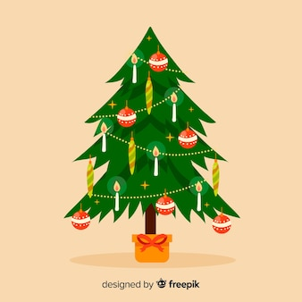 Flat christmas tree with candles background