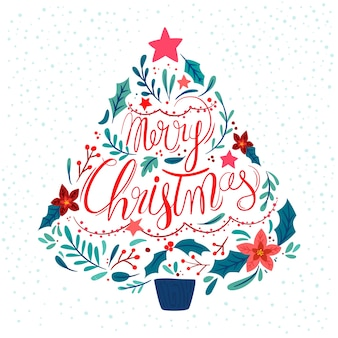Flat christmas tree with lettering
