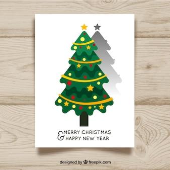 長い影とフラットクリスマスツリー