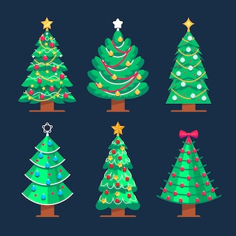 Flat christmas trees collection