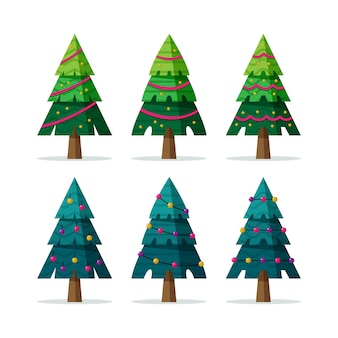 Flat christmas trees with ornaments