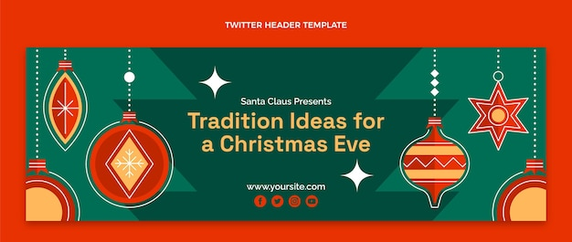 Flat christmas twitter cover template