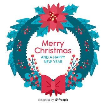 Flat christmas wreath background