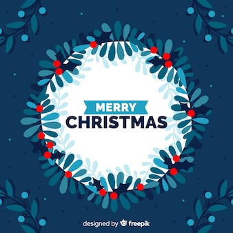 Flat christmas wreath background