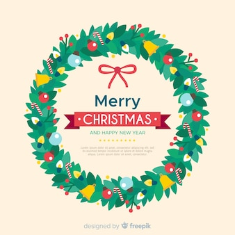 Flat christmas wreath christmas background