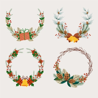 Flat christmas wreath collection