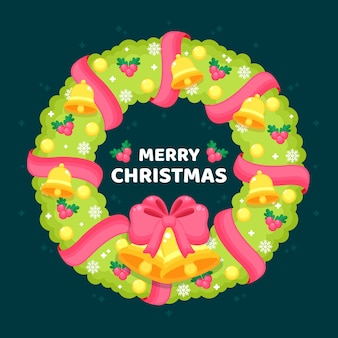 Flat christmas wreath with greeting