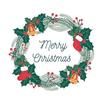 Плоский рождественский венок с омелой