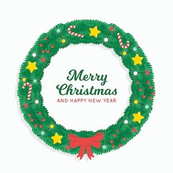 Плоский рождественский венок со звездами и бантом