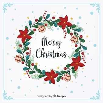 플랫 크리스마스 화환