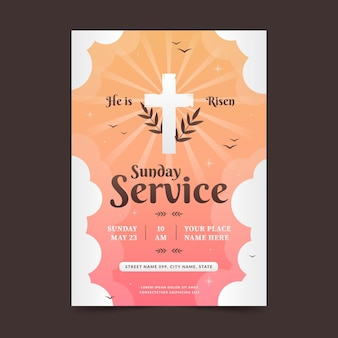 Flat church flyer template
