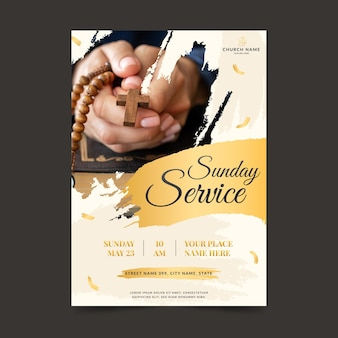 Flat church flyer with photo