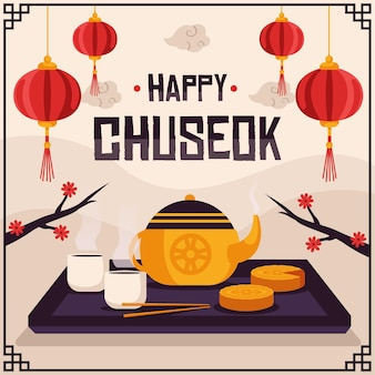 Flat chuseok illustration concept
