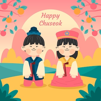 Flat chuseok illustration with greeting