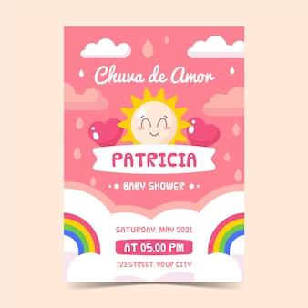 Flat chuva de amor baby shower card