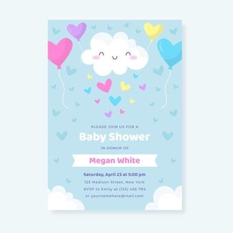 Плоское приглашение на детский душ chuva de amor