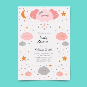 Flat chuva de amor baby shower invitation