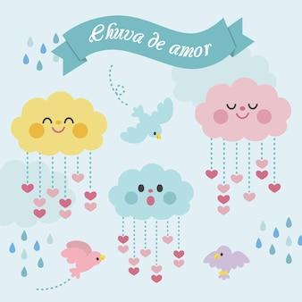 Collezione di elementi decorativi piatti chuva de amor