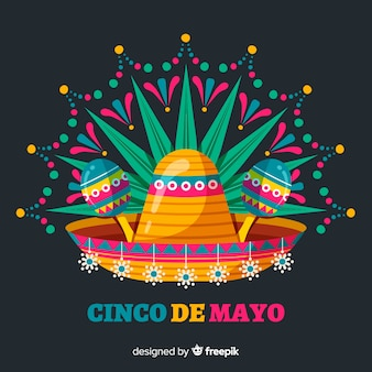 Flat cinco de mayo background Premium Vector