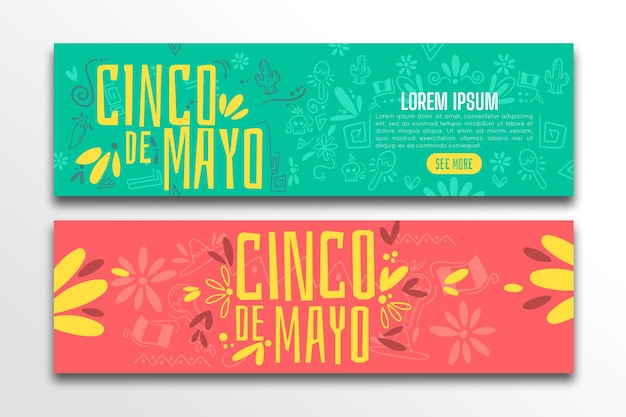 Set di banner piatto cinco de mayo