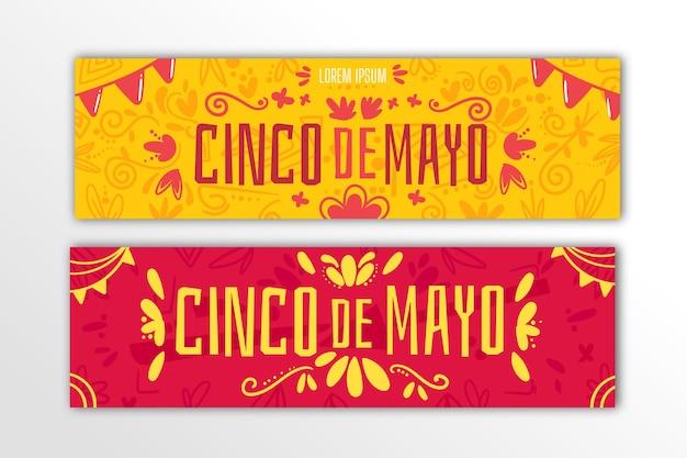 Set di banner piatto cinco de mayo