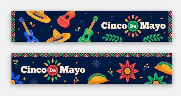 Flat cinco de mayo banners set