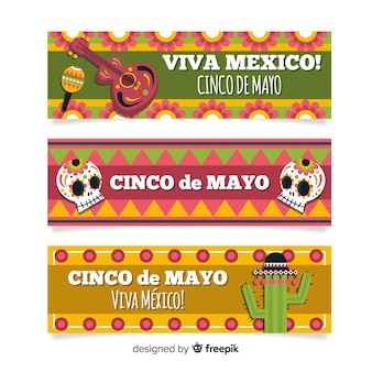Flat cinco de mayo banners