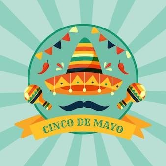 Плоская иллюстрация синко де майо