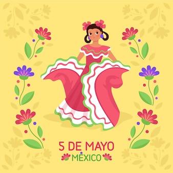 Illustrazione piana di cinco de mayo