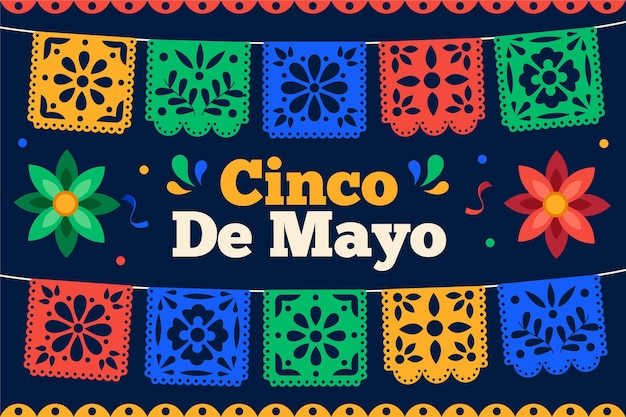 Flat cinco de mayo mexican decoration collection