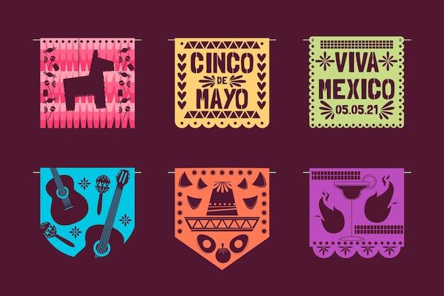 Flat cinco de mayo mexican decoration