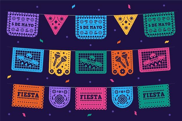 Decorazione messicana piatta cinco de mayo
