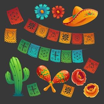 평평한 cinco de mayo 멕시코 장식