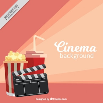Flat cinema background with clapperboard and popcorns