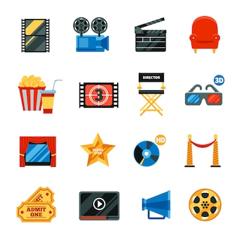 Flat cinema decorative icons set