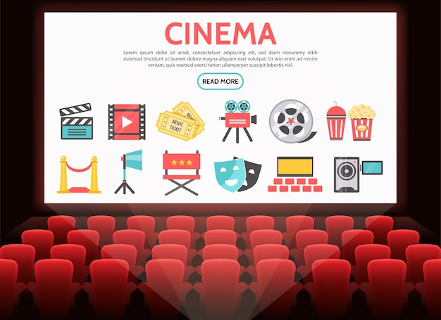 Flat cinema elements set with film reel tickets movie camera soda popcorn clapboard red carpet